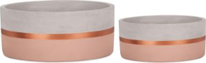 09470 - Kit Cachepot Rosa e Cobre em Cimento - 2 Pçs
