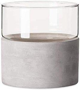 09479 - Vaso em Vidro e Cimento Largo