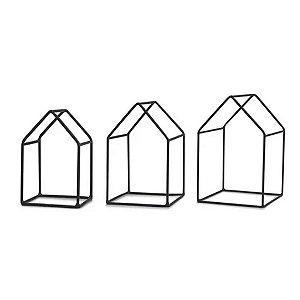 10146 - Kit Casa Preta em Metal - 3 Pçs
