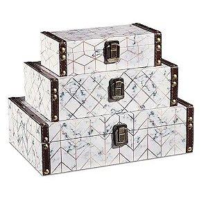 10205 - Kit Caixa Mala Decorativa - 3 Pçs