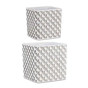 10398 - Kit Cachepot Branco em Cimento - 2 Pçs