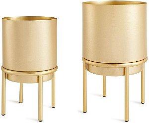 10974 - Kit Cachepot Dourado em Metal com Suporte - 2 Pçs