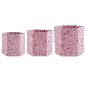11507 - Kit Cachepot Rosa em Cimento - 3 Pçs