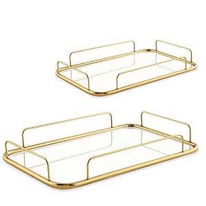 13043 - Kit Bandeija Dourada em Metal com Espelho