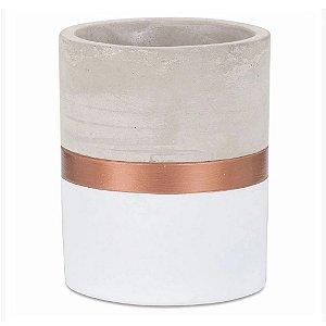 7693 - Vaso Branco e Cobre em Cimento