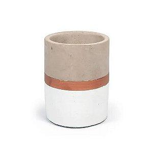 7694 - Vaso Branco e Cobre em Cimento
