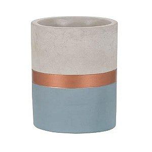 7705 - Vaso Azul e Cobre em Cimento