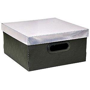 Caixa Organizadora Metalizada Dello 30 x 30 x 16 cm - Prata