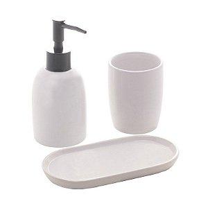 Conjunto 3 Pçs Para Banheiro De Cerâmica Londres Branco E Prateado