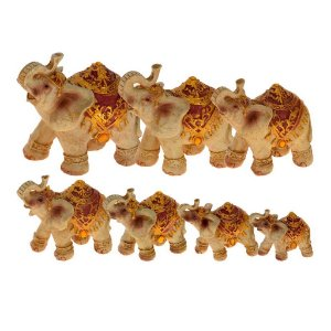 Conjunto Escultura Cerâmica 7 Elefantes Decorglass
