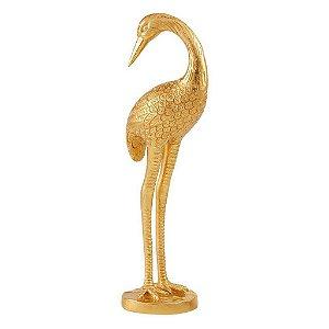 Escultura Passaro Dourado Em Poliresina 13251