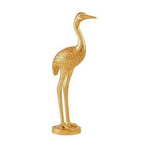 Escultura Passaro Dourado Em Poliresina 13252