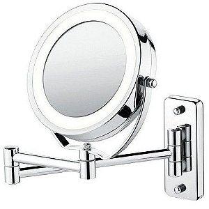 Espelho Articulado Cromado com Iluminação LED e Ampliação 5x