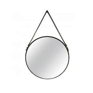 Espelho Decorativo Preto Metal Redondo 45cm Com Alça 7292