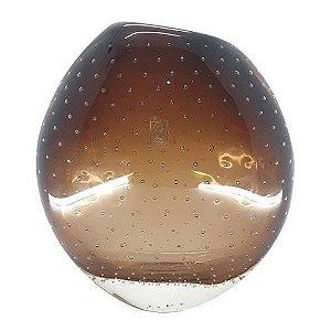 Vaso Mesa Decorativo Bojudo Em Cristal Ambar São Marcos