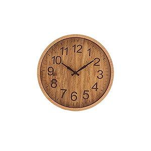 Relogio Parede Plastico Wood 30,5x4cm