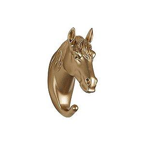 Gancho De Parede Em Resina Cavalo Dourado 13744