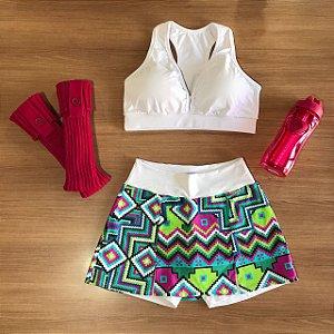 Fitness - Shorts Saia 607 Fenda - Branco