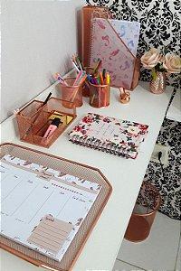 Kit mesa escritório aramado 7 peças