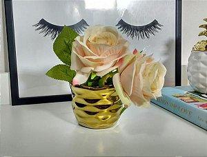 Cachepô vaso dourado