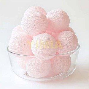 Cordão de luz led bolas rosa claro - 10 bolas