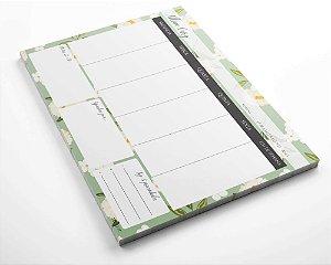 Planner de mesa semanal personalizado floral green