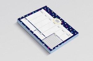 Planner de mesa semanal personalizado confetti