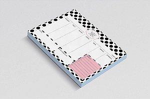 Planner de mesa semanal personalizado polka dots