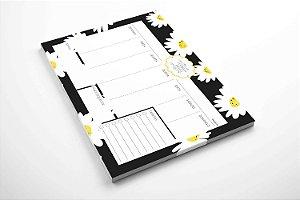 Planner de mesa semanal personalizado margaridas