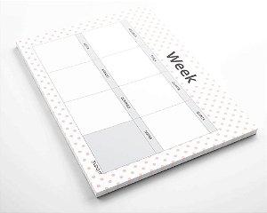 Planner de mesa semanal personalizado poá rose