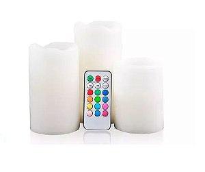 Vela Decorativa Led Controle Remoto - Kit 3 unidades