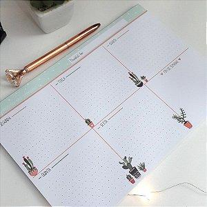 Planner Semanal Cute Cactos