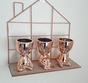 Kit trio vaso robert rose gold