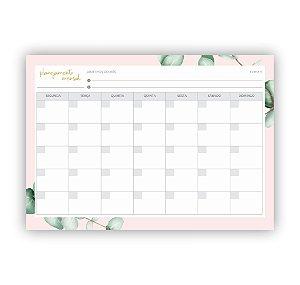 Bloco planner mensal folhagens rosa