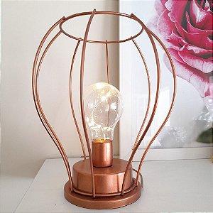 Luminária de mesa abajur rose gold