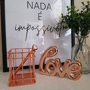 Porta Lápis Luxo Rose Gold