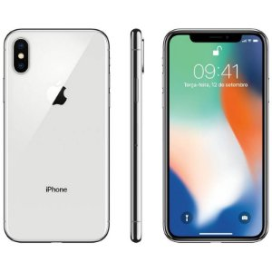 iPhone X 64gb Apple 4G Desbloqueado Braco com Prata - Lacrado Garantia Apple de 1 Ano