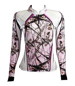 Camisa de Pesca Feminina Brk Pink Leaf com fpu 50+