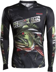 Camisa de Pesca Brk River Monster Peacock Bass com fpu 50+