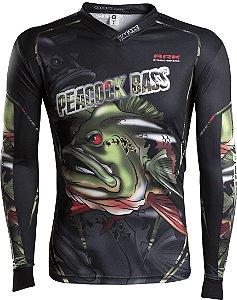 Camisa de Pesca Brk River Monster Peacock Bass com fpu 50+