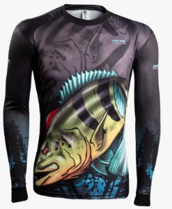 Camisa de Pesca Brk Combat Fish Tucunare Azul 1.0 fpu 50+