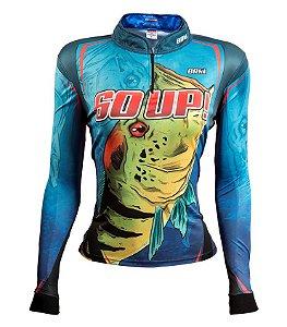 Camiseta de Pesca Feminina 60 UP Azul com fps 50+