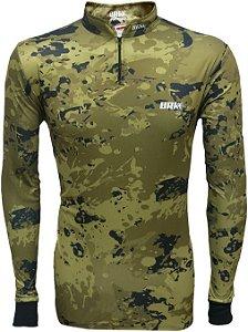 Camisa de Pesca BRK Camuflada Caqui com fps +50