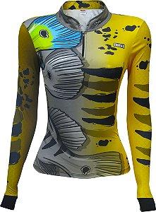 Camisa de Pesca BRK Feminina Tucunaré Azul Ocelo 2.0 com fps +50