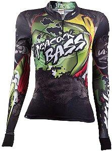 Camisa de Pesca BRK Feminina Tucunaré Pesacock Bass Amazon com fps +50