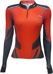 Camisa de Pesca BRK Feminina Fising Life Orange com fps +50