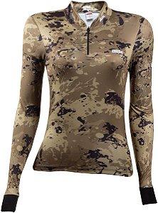 Camisa de Pesca BRK Feminina Camuflada Caqui com fps +50
