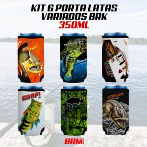 KIT 06 PORTA LATAS VARIADOS BRK 350 ml NEOPRENE 3MM