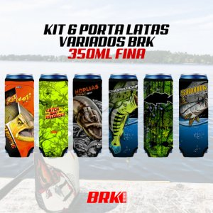 KIT 06 PORTA LATAS VARIADOS BRK 350 ml MOLDE FINO NEOPRENE 3MM