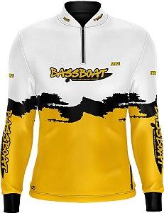 Camisa de Pesca Brk Bass Boat Yellow Black com fps 50+